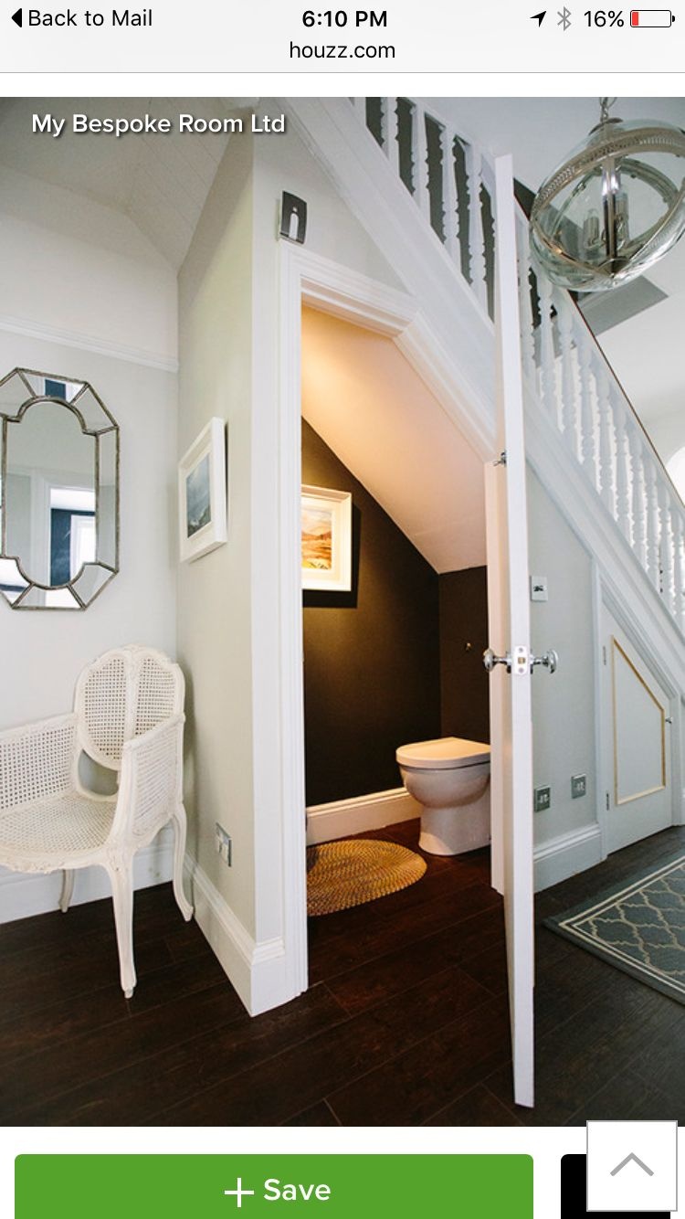 Bathroom under stairs inside house stuff pinterest for Bathroom designs under stairs