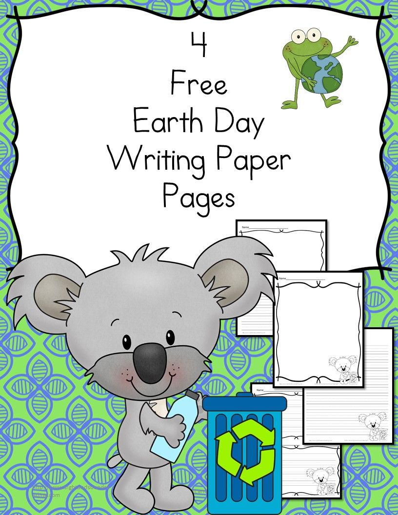 Free Earth Day Writing Paper  Earth day Kindergarten and Student
