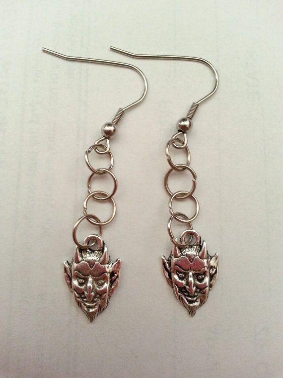 Satan Head Earrings Halloween Earrings Satan Head Halloween