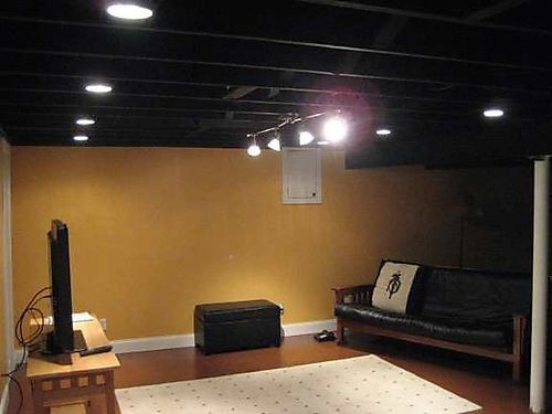 finished basement ceiling. I like the black painted unfinished ceiling for basement game room  want to do this in my idea looks nice but it a lot of work never