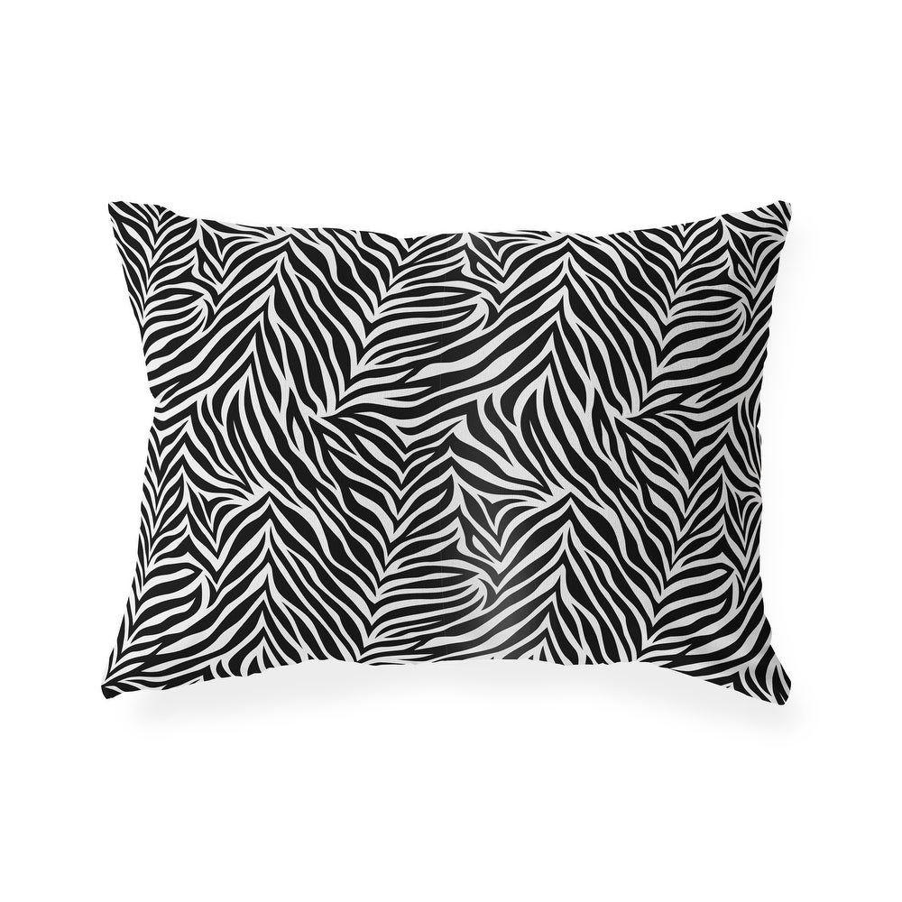 ZEBRA PRINT Indoor|Outdoor Lumbar Pillow by Kavka Designs - 20X14 (20X14), Black(Polyester, Animal Print), Outdoor Cushion