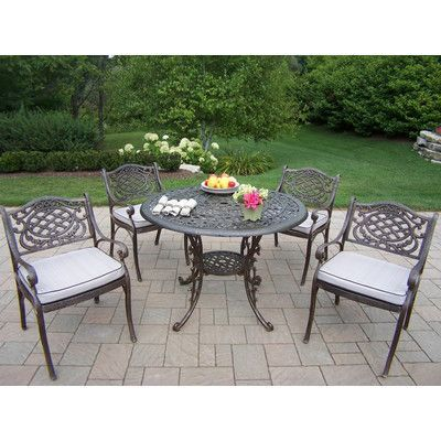Oakland Living Mississippi 5 Piece Dining Set With Cushions Free