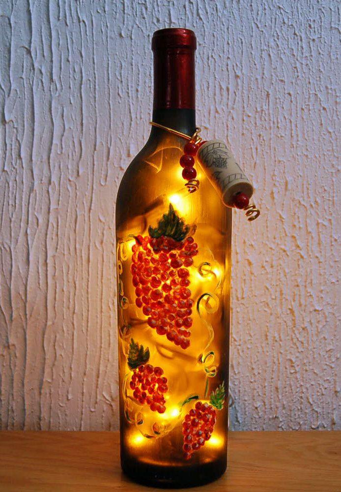 Wine Bottle Light, Grapes, Kitchen Decor, Tuscan, Nightlight, Upcycled, Bar