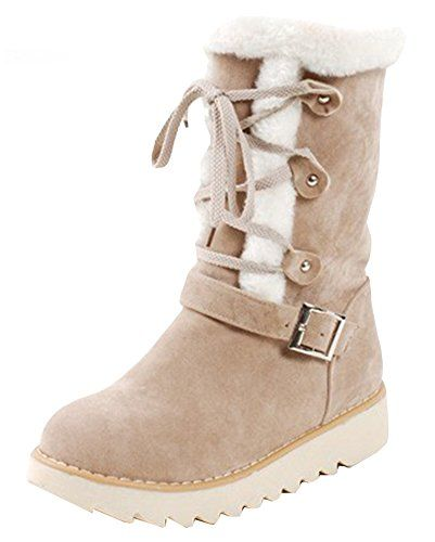 Women's Comfy Faux Fur Lined Lace Up Mid Calf Boots