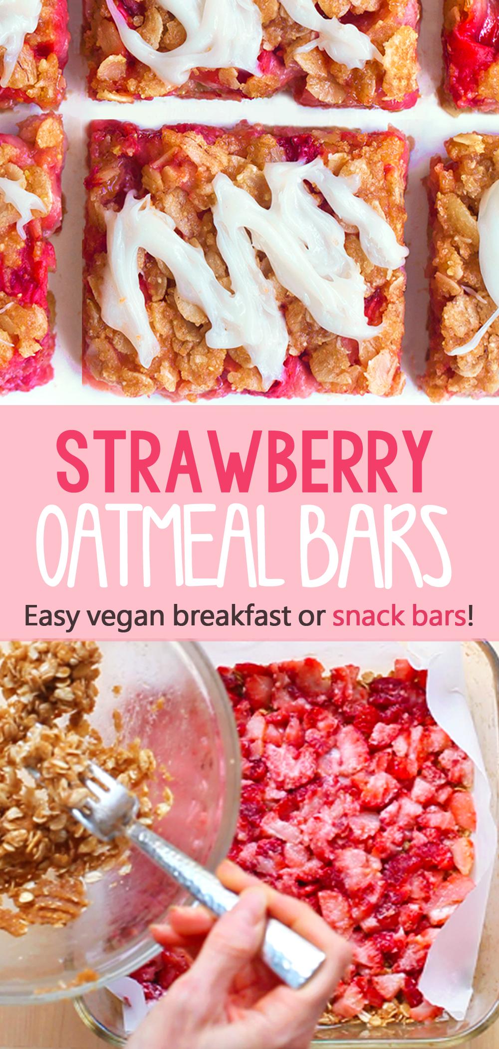 Healthy Strawberry Oatmeal Breakfast Bars