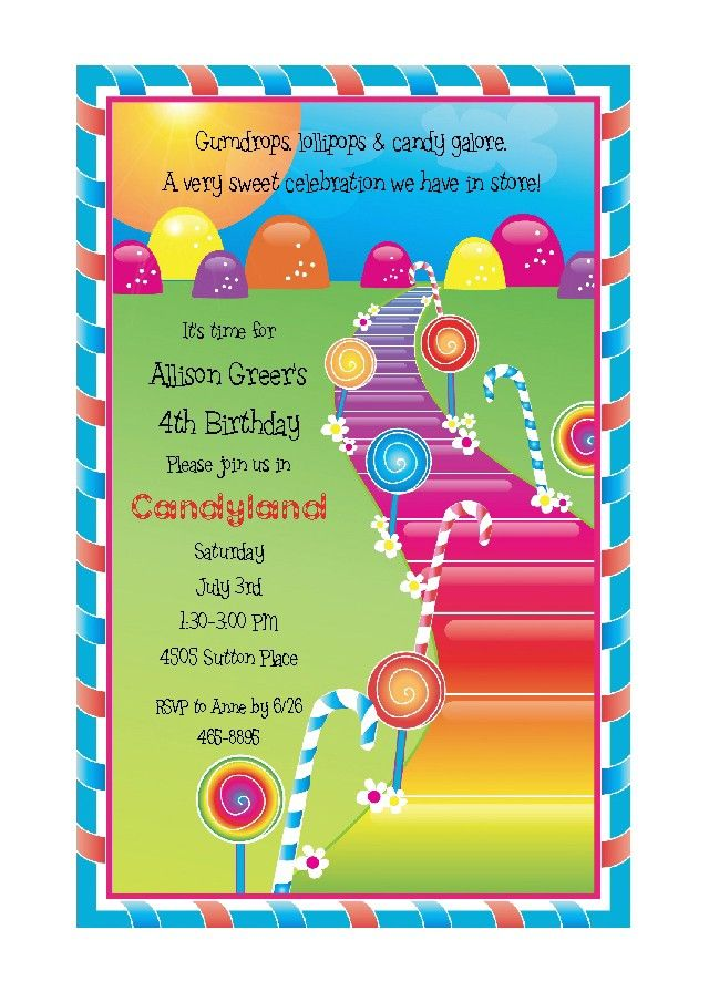 CandylandParty Invtations for Childrens Birthday Party Candy Land ...