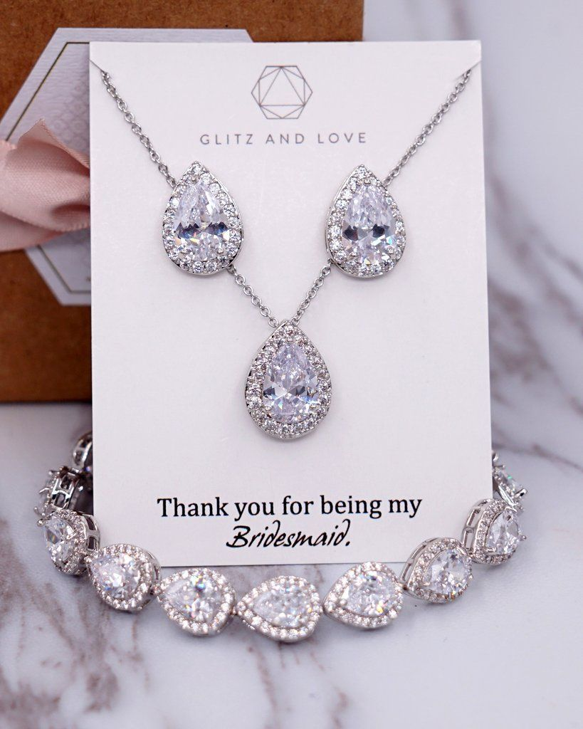 Bridesmaid Necklace Gift Bridal Necklace Silver Cubic Zirconia  Tear Drop Necklace. AAA+ Cubic Zirconia Tear Drop necklace
