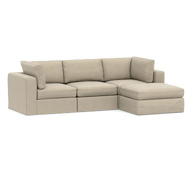 PB Air Square Arm Upholstered 4-Piece Chaise Sectional ...