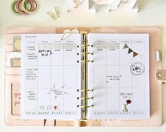 printable planner kit 2017 2018 monthly yearly weekly alles gute pinterest filofax. Black Bedroom Furniture Sets. Home Design Ideas