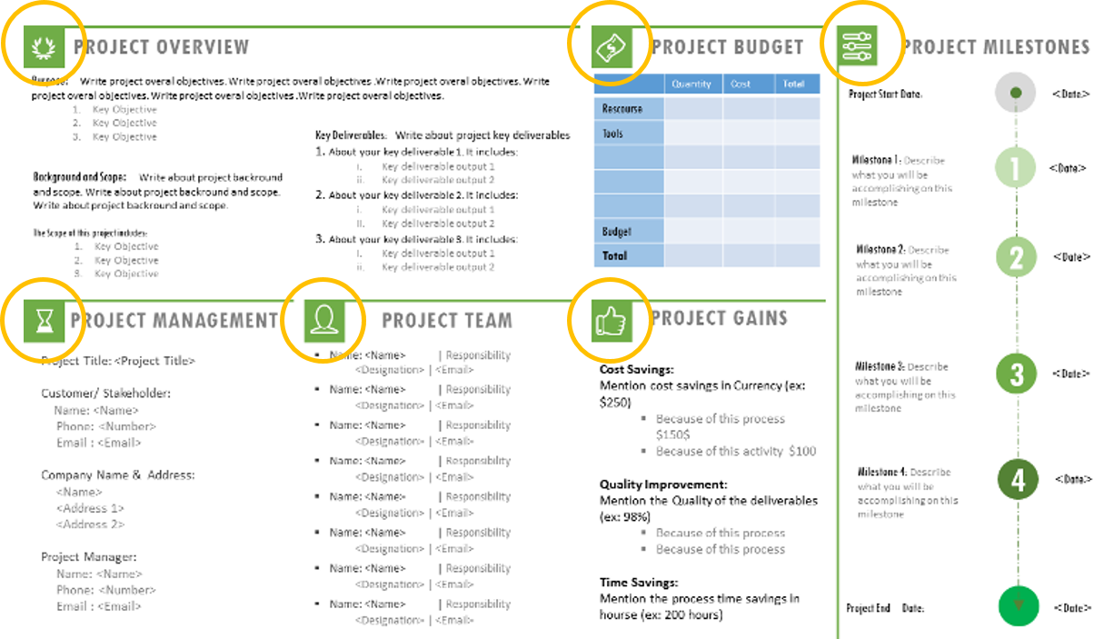 One Page Project Charter Ppt Template  Daily Schedule Template