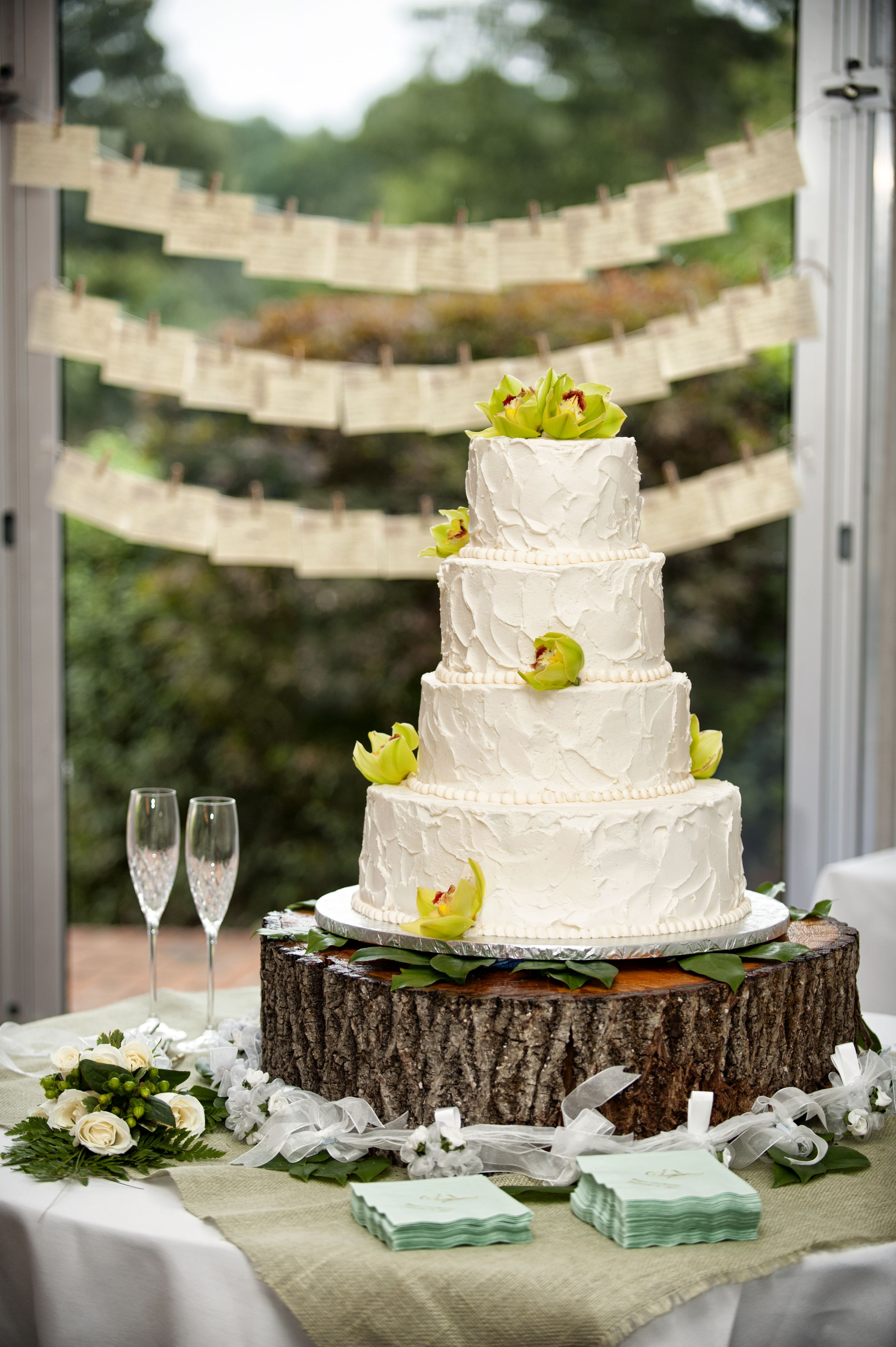 Tree Trunk Cake Stand And Shabby Chic Wedding Very Rustic