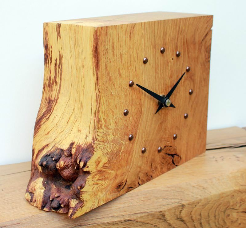 Square Rustic Oak Mantel Clock Wall Clock Wooden Wood Clocks Rustic Wall Clocks