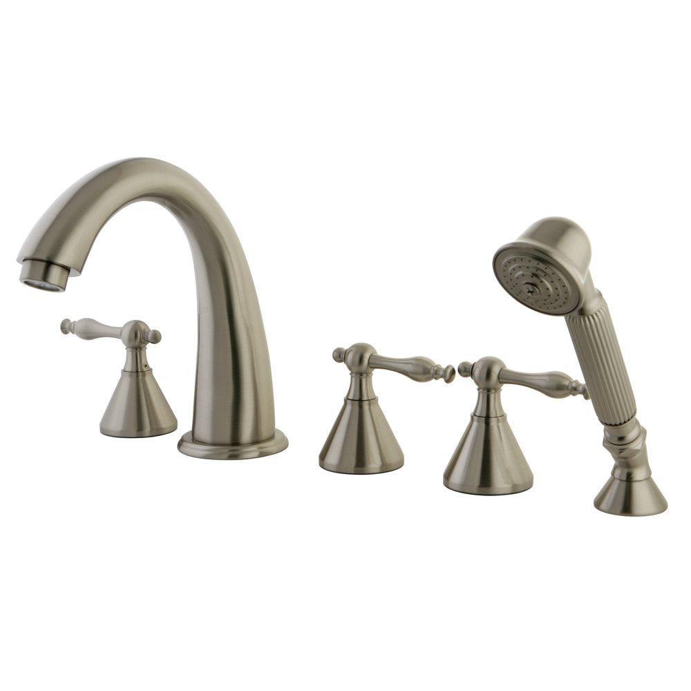 Satin nickel naples hdl roman tub filler faucet w hand shower