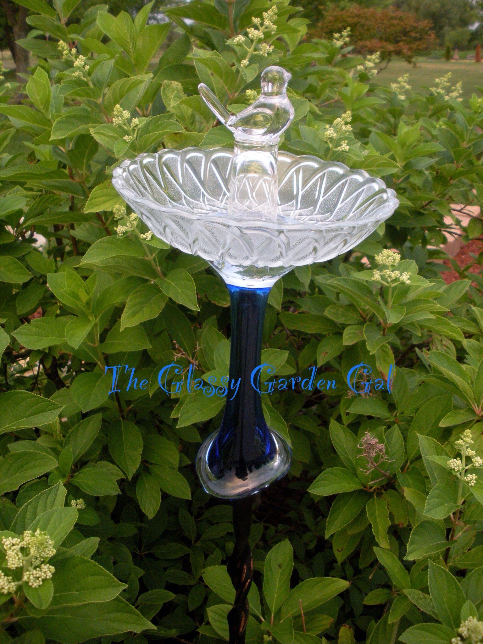 Glass Bird Bath, Glass garden art, yard art, repurposed recycled up ...