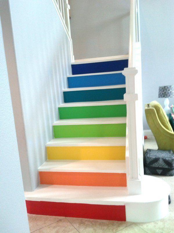 Holztreppe diy holztreppe streichen farbig und kreativ for Holztreppe streichen farbe