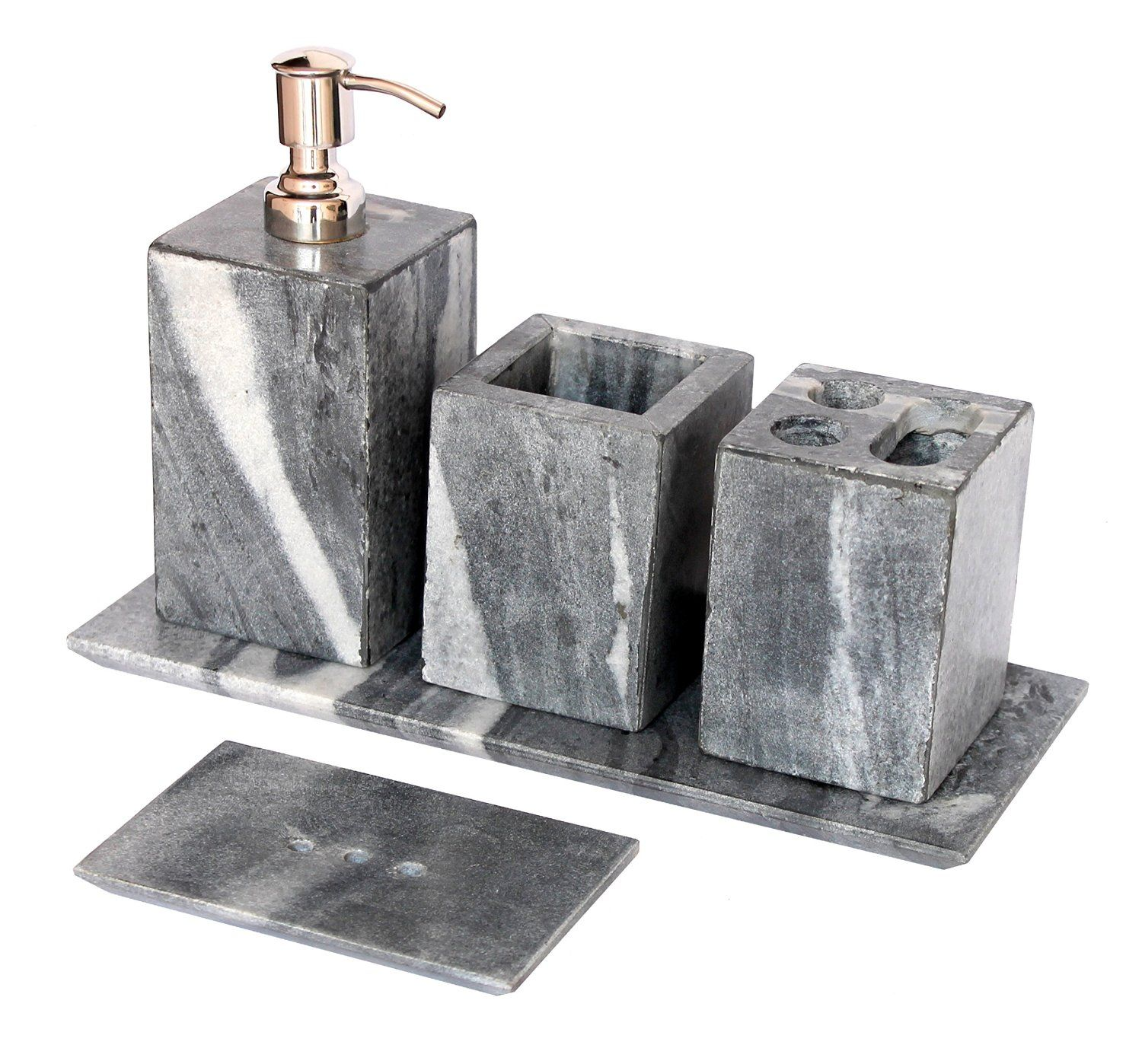 5 Piece Set Of Natural Stone Made Bathroom Accessories With Soap Dispenser Dish Toothbrush And Toothpaste Holder More Get