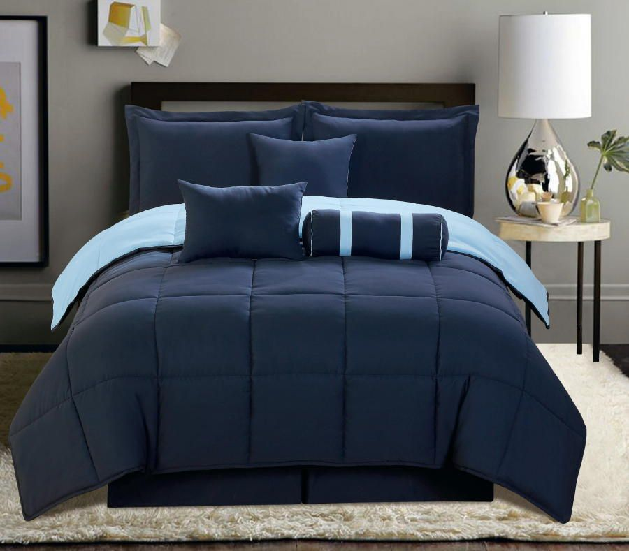 7 PC Reversible Comforter Set King Size Navy Blue Soft New Bed in