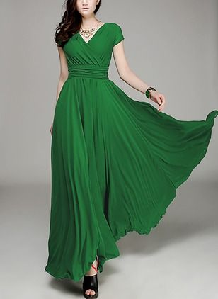 elegant flügelärmel solide maxi baumwolle kleider  vestidos compridos vestidos vestidos estilosos