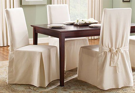 Sure Fit Slipcovers Cotton Duck Long Dining Chair Cover   Dining Room Chair