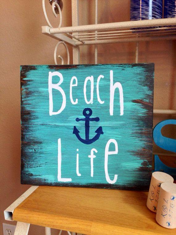 Beach Life Wooden Sign Nautical Sign Beach Sign Beach Decor