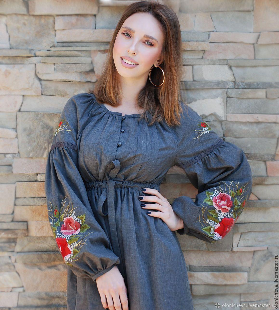 099e7f2be399 Платья ручной работы. Платье из хлопка с ручной вышивкой  Пленительные  розы  вышитое платье