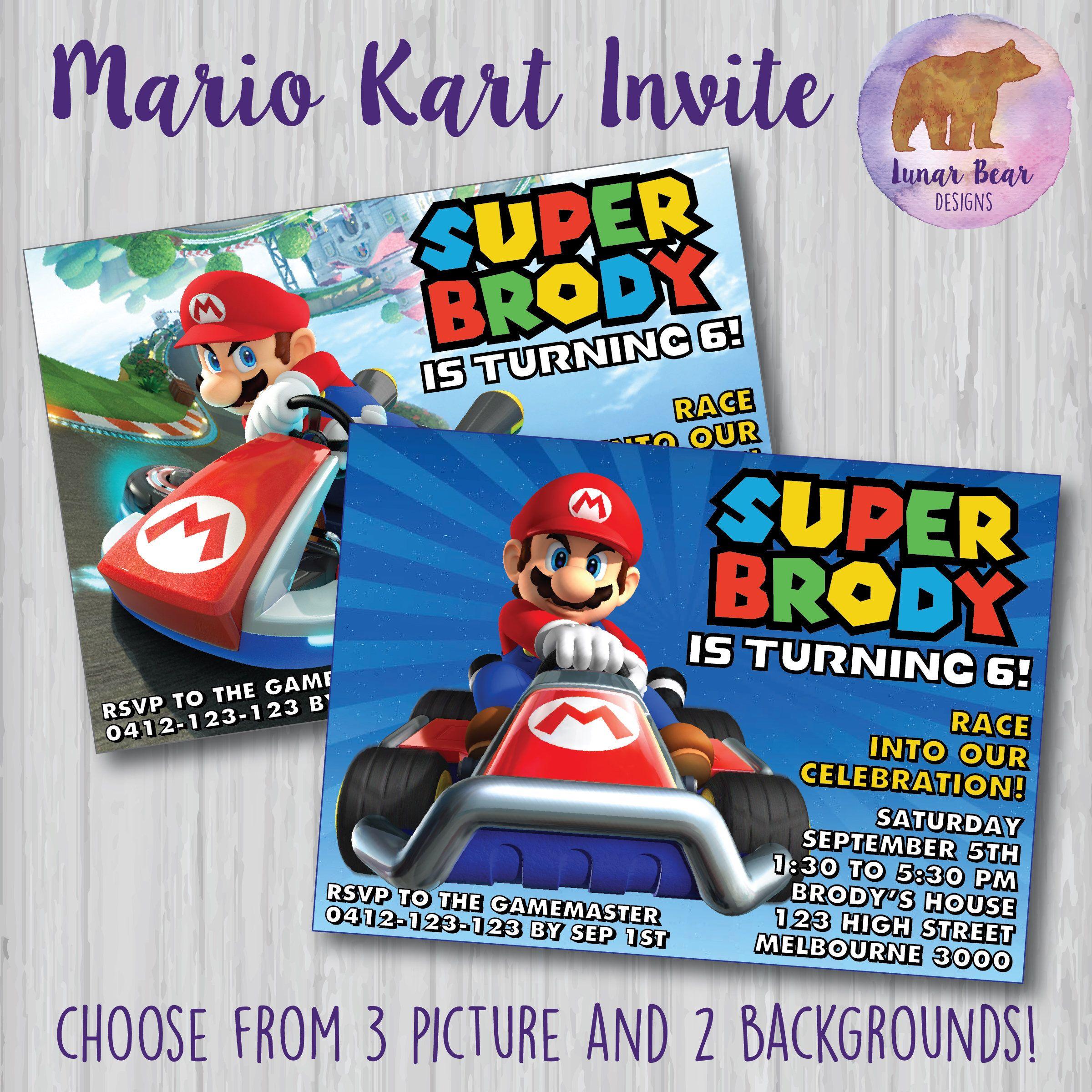 Mario Kart Invitation Mario Kart Party Mario Kart Birthday Party