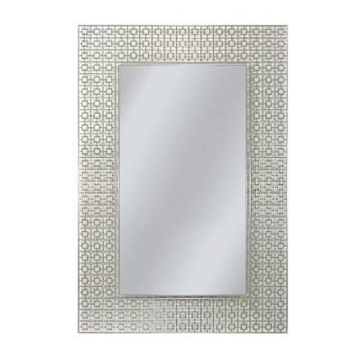 Deco Mirror 36 In X 24 In Etched Geometric Wall Mirror 6281 At
