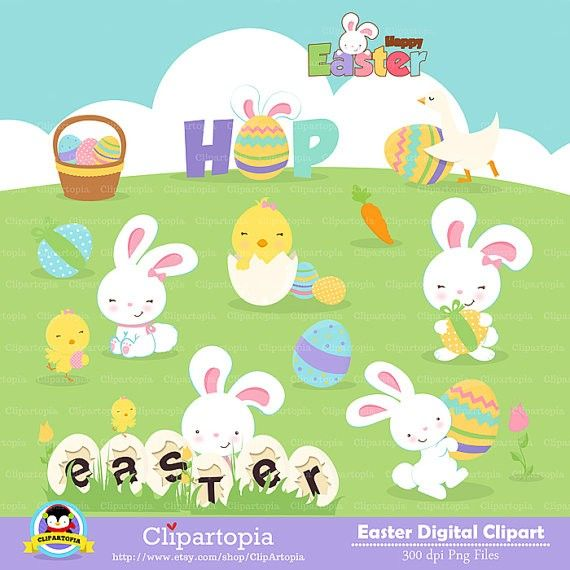 """Easter digital clipart  """"EASTER CLIPART""""  Easter rabbit clip art , Easter bunny clipart, Easter Egg Clipart /instant download  #2014 #Easter #Day #clip art #decor #craft #ideas www.loveitsomuch.com"""