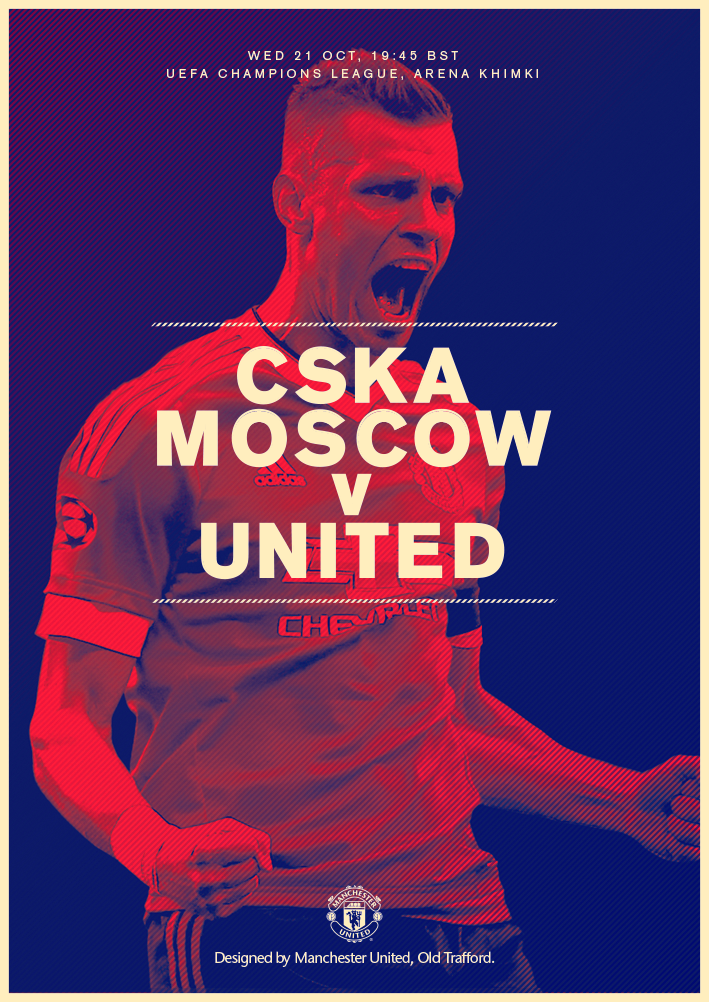 Match poster. CSKA Moscow v Manchester United, 22 October 2015. Designed by @ManUtd.