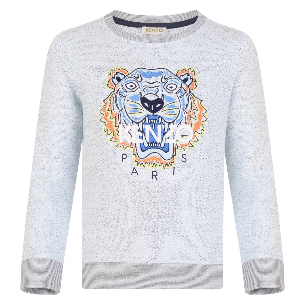 159354b8 Kenzo Kids Boys Pale Blue and Grey Sweatshirt with Orange and Blue Tiger  Print