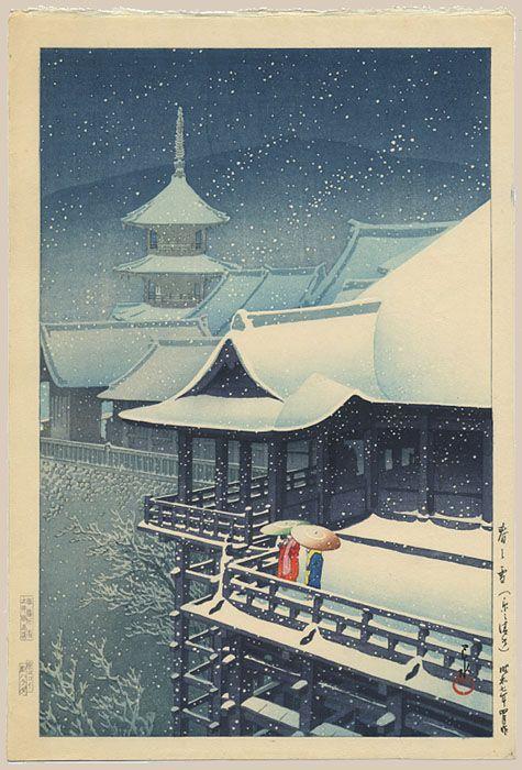 """""""Spring Snow, Kiyomizu Temple, Kyoto"""" by Hasui, Kawase"""