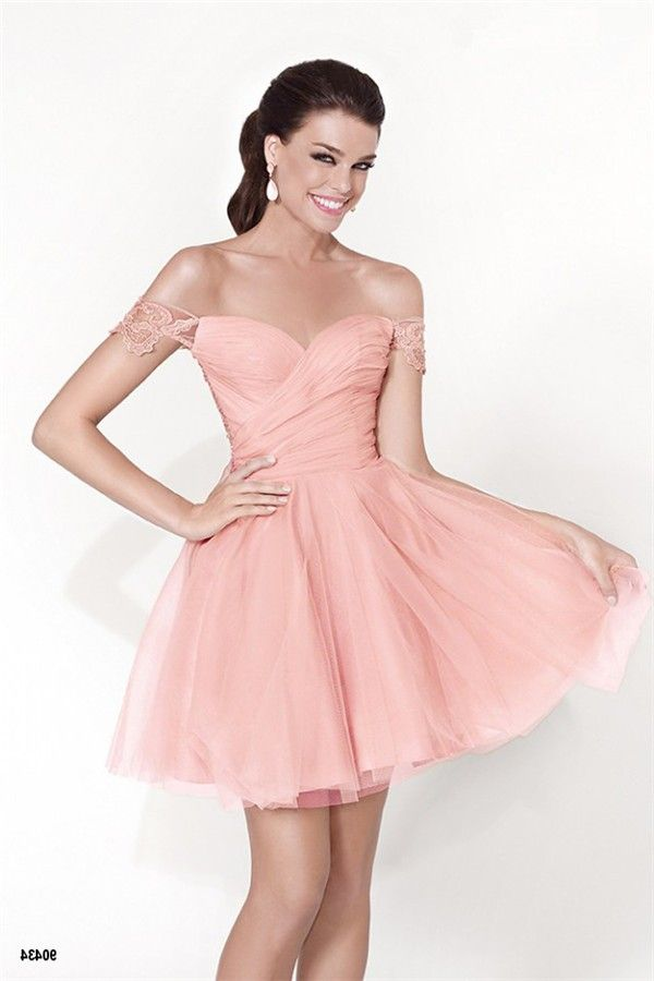 Cute Off The Shoulder Mini Blush Pink Tulle Lace Party Prom Dress ...