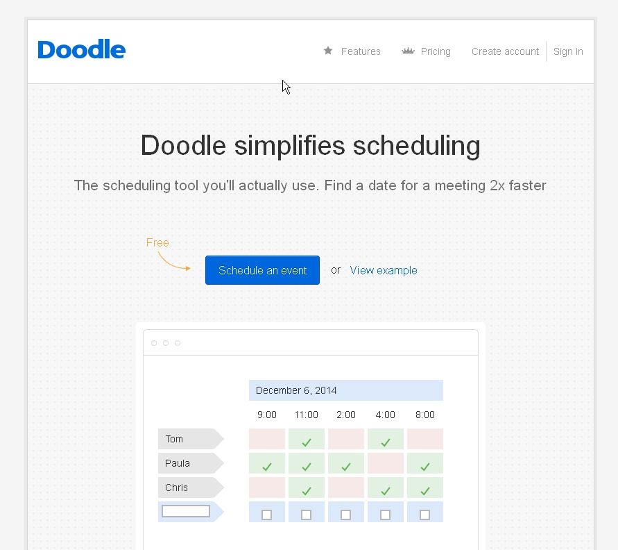 Doodle Easy group scheduling tool Doodles, Schedule