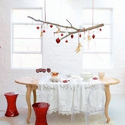 Christmas Branch Decoration Ideas.Tree Branch Hung From The Ceiling Christmas Christmas