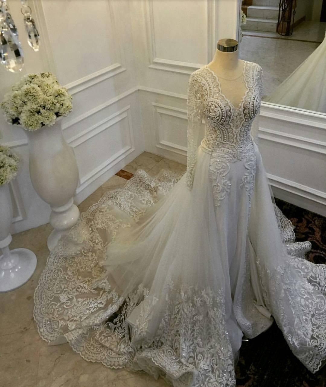 2019 Mermaid Wedding Dresses With Detachable Train Sheer