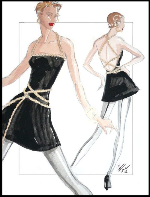 Fashion Illustration of a blond girl wear a black mini dress with white tights and a gold belt
