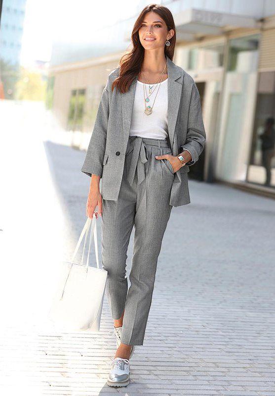 b8af29f6b4ee4 Pantalon Exclusivité 3SUISSES - Gris   Working style   Chemisier ...