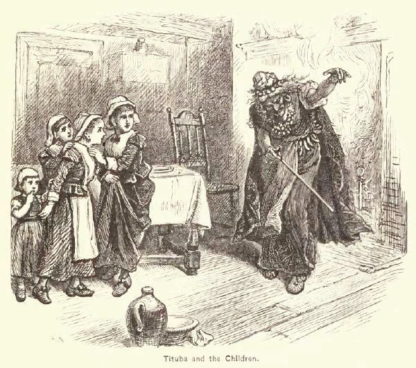 """Tituba and the Children. By Alfred Fredericks in 1878 (""""A Popular History of the United States"""", Vol. 2)"""