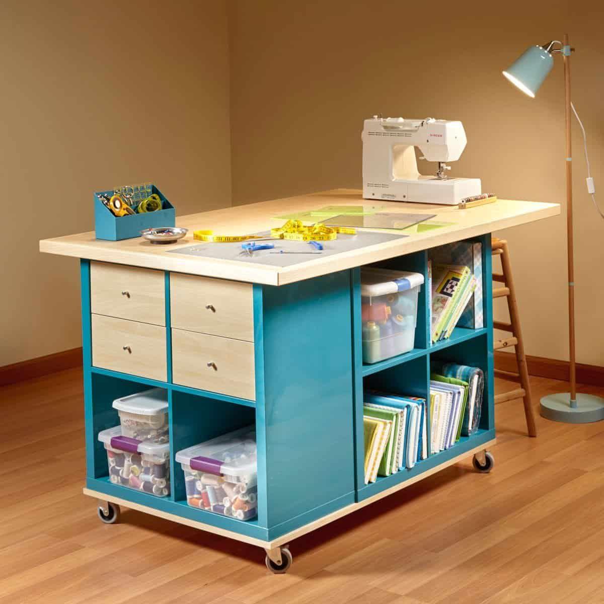 artist work table with storage