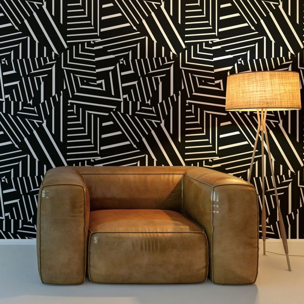 Sample Dazzle Self Adhesive Wallpaper in Black and White