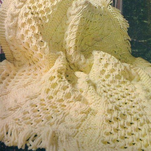 1fb0b21e9 Bulky Knit Cable Fringe Afghan PDF Pattern 54 x 62 Vintage 1690s ...