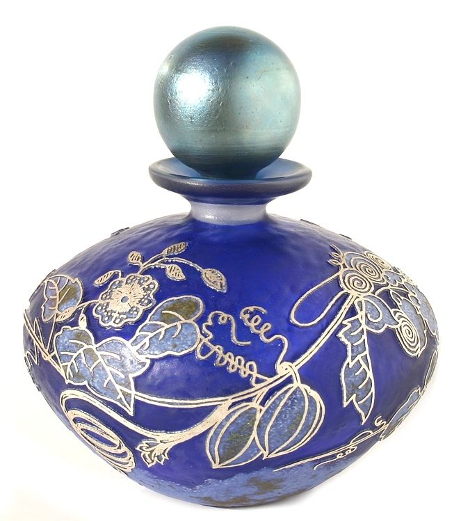 Silver Cameo Perfume Bottle.  Floral Perfume. Silver blue core with lavender, opal and sage, silver leaf and iridised stopper. 10cm tall.