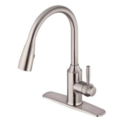 Glacier Bay Invee 8 In Single Handle Top Mount Pull Down Sprayer Kitchen Faucet In Stainless Kitchen Faucet Stainless Kitchen Faucet Pulldown Kitchen Faucets
