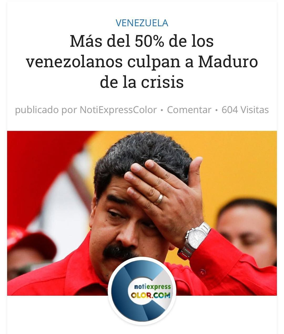 Mas del 50% culpa a Maduro de la Crisis