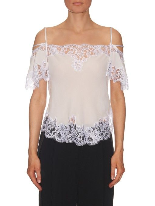 7a70817dcfa4 Givenchy Lace-trim silk-crepe cami top. Find this Pin and more on Wishlist  by Amanda Minagawa Lie.