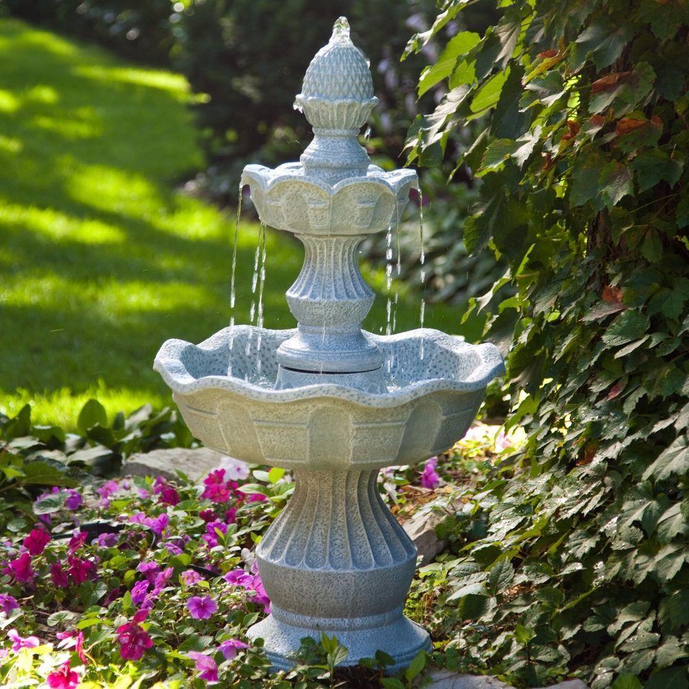 2 Tier Outdoor Water Fountain Welcome Pineapple Top Backyard Patio Garden Decor Water Fountains Outdoor Small Fountains Outdoor Fountain