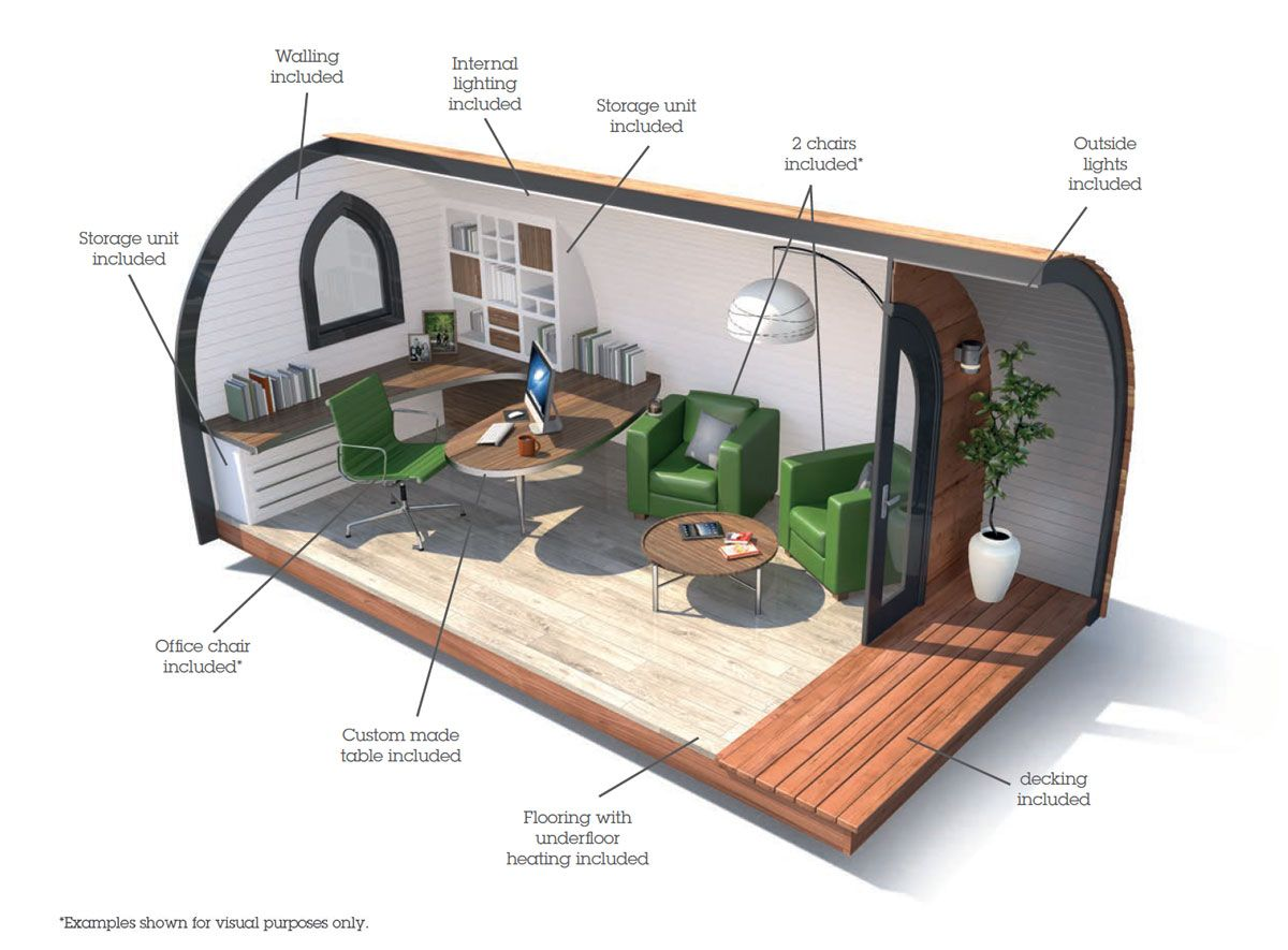 Office Pod  Garden Pod is part of garden Seating Pod - The Office Pod from Garden Hideouts is the ideal solution for the home worker who needs their own productive space, or for any business that is looking for a simple, modern way to provide more office space with no planning permission required