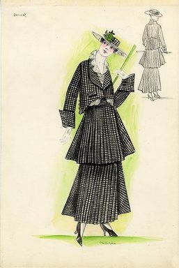 """""""Suit, Doucet, 1915. Black and white checkered suit with waist length coat and tierred skirt; skirt consists of smaller accordian pleats with larger pleats on the sides; white blouse with eyelet trim; large hat with green flower decoration; green cane. (Henri Bendel Collection, HB 010-08)"""", 1915. Fashion sketch. Brooklyn Museum, Fashion sketches. (Photo: Brooklyn Museum, SC01.1_Bendel_Collection_HB_010-08_1915_Doucet_SL5.jpg)"""