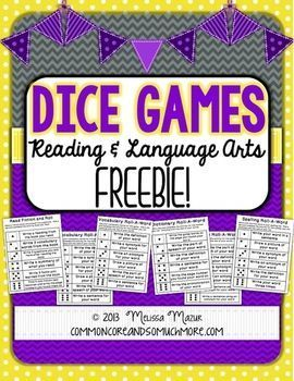 Dice Games  Reading and Language Arts  FREE on TpT can be used for spelling words using a dictionary or thesaurus and to enhance reading fiction  nonfiction