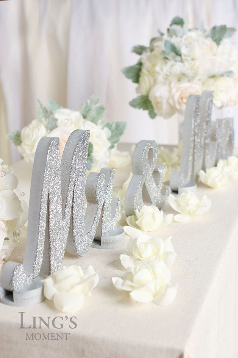 Mr and Mrs-Glitter Letters-Sweetheart Table Decorations-Silver ...